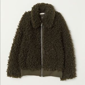 Soft Teddy fur jacket with collar size 8